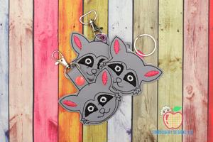 Raccoon Face In The Hoop Keyfob