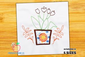 Designed Pot Of Flowers Embroidery Design