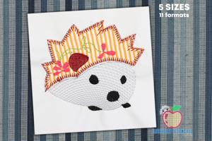 Hedge Hog With Design On Back Applique