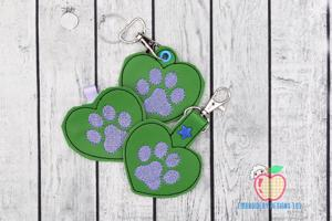 Dog Paw ITH Key Fob Pattern
