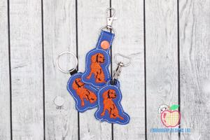 Brown Dog Sitting ITH Keyfob Design