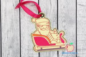 Santa Riding His Sleigh In The Hoop Ornament